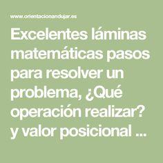 Excelentes láminas matemáticas pasos para resolver un problema, ¿Qué operación realizar? y valor posicional -Orientacion Andujar