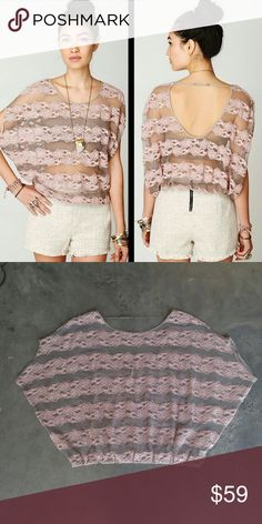 Free People County Fair Banded Bottom Lace Top Free People sheer gray mesh and pink lace striped top, size medium, in excellent condition! Low open back with adjustable strap across shoulders. Elastic bottom hem. Dolman sleeves make this flowy and wide. Great as a swim cover up or with a tank or bandeau underneath! Cover photos from FP. Please ask any questions. No trades. Make a reasonable offer. Thanks! Free People Tops Blouses