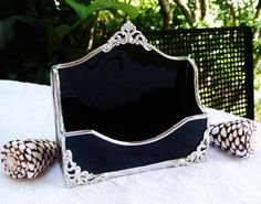 Elegant Black Stained Glass Business Card Holder by MoreThanColors, $34.50