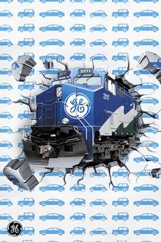 The GE Evolution series locomotive weighs pounds. That's equivalent to 109 average-sized cars. Train Posters, Railway Posters, Train Drawing, Aviation Technology, General Electric, Train Station, Locomotive, Wind Turbine, Evolution
