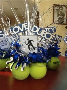 Tennis banquet centerpieces.