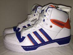 buy popular ee849 09593 Adidas Originals Attitude Hi Knicks White Orange Blue Athletic Sneakers Sz  9   eBay Basketballschuhe Für