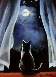 black cat looking at moon art by Cristy Grange I Love Cats, Crazy Cats, Cute Cats, Photo Chat, Halloween Pics, Halloween Night, Happy Halloween, Halloween Painting, Moon Art