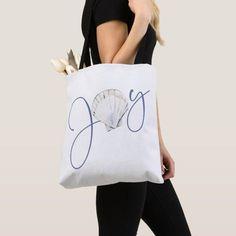 Coastal Joy Seashell Nautical Tote Bag Custom Tote Bags, Personalized Tote Bags, Nautical Tote Bags, Nautical Design, Modern Vintage Homes, Edge Design, Christmas Card Holders, White Elephant Gifts, Sea Shells