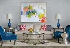 living room with blue and red touches