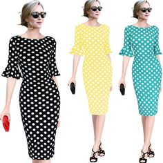 Women Flare Sleeve Polka Dot Print Vintage Pinup Casual Work Party Bodycon Dress #bodycondresscasual