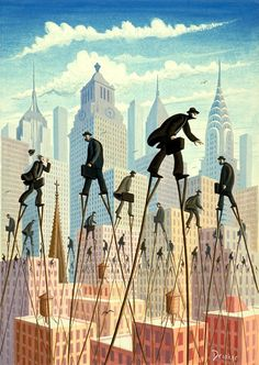 Eric Drooker fab magritte style post modern surrealist art painting ...above the city ....love the guys of the rat race still racing around but on stilts
