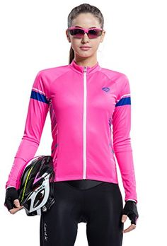 Santic Long Sleeve Women's Cycling Outdoor Sports Jerseys Full Zip Peach S Check out the image by visiting the link.