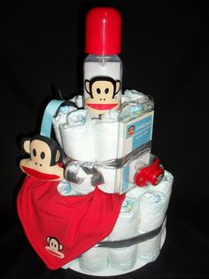 Paul Frank diaper cake, perfect for a baby shower! Customize with Paul Frank baby products available near you. #paulfrank #julius #babyshower #party