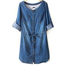 34,90EUR Jeanskleid Denimkleid Kleid langarm hellblau