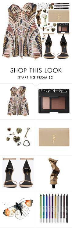"""some nights"" by zada ❤ liked on Polyvore featuring Balmain, NARS Cosmetics, Yves Saint Laurent, Aesop, PEONY and Urban Decay"
