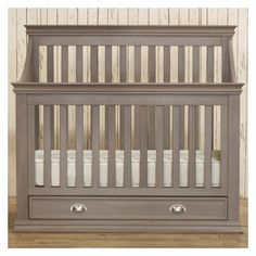 We love this grey crib!! It converts to a toddler bed, day bed, then a full size bed!