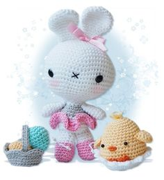 Amigurumi Bunny and Chick in an Egg Shell Patterns by pepika, $6.00