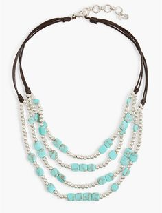 Turquoise Beaded Collar Necklace | Lucky Brand
