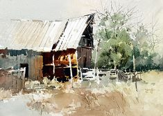 watercolor on Arches 140 LB rough paper. size 11 X 14 inches Watercolor Barns, Watercolor Architecture, Watercolor Landscape Paintings, Watercolor Trees, Watercolor Sketch, Watercolor Artists, Watercolor Techniques, Watercolour Painting, Painting Techniques