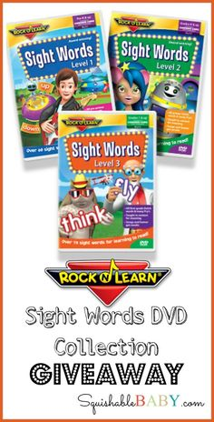 #giveaway #win @rockandlearn Sight Words DVD Collection.  Great for teaching #preschoolers #homeschoolers how to read with engaging and fun videos.  @squishablebaby #familyfriendly #education