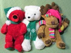 "Christmas Plush Trio White Teddy Red Bear Tan Moose 16"" 15"" & 14"" Stuffed Animal #Assorted"