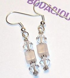 Handmade 1 1/2 ROSE QUARTZ Dangle EARRINGS by MYBODACIOUSBEADS, $12.00