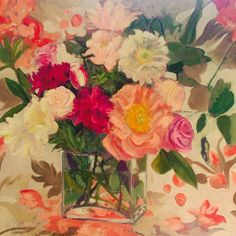18/05/2014 Ian Mowforth Peonies and roses Oil on canvas 70 cms x 70 cms