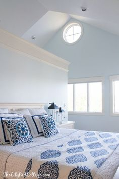 New Paint Color - love the before and after of this bedroom. Peek o Blue by Clark+Kensignton - love this color!