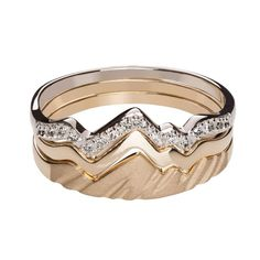 Teton Mountain Stacking Ring 14KY & 14KW with Diamonds (3 Ring Set) - Jackson Hole Jewelry Company - 1