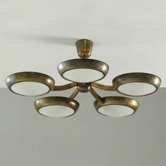 Brass Stilnovo flushmount chandelier | From a unique collection of antique and modern chandeliers and pendants  at http://www.1stdibs.com/furniture/lighting/chandeliers-pendant-lights/