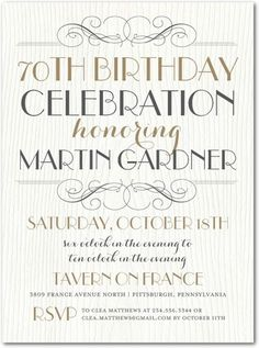 Celebratory Chic - Adult Birthday Party Invitations in Charcoal or Navy | Picturebook | 70th Birthday Party Invite ++++ Weddings don't have to be the only elegant private events!