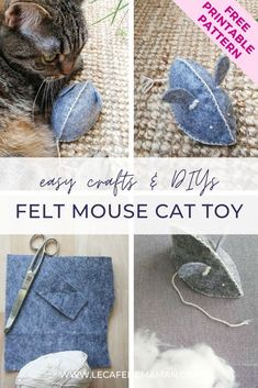 Easy and fun felt crafts - DIY cat toy to make for your lovely pet! Great to enjoy for both adults and kids! More crafts and DIYs at Le cafe de maman! #feltanimal #feltcraft #feltmouse #creativecrafts #funcraftideas #craftprojects
