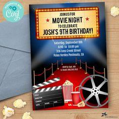 Movie Night, Red Carpet Film Premiere Birthday Party Invitation | 5x7, 2-sided | Editable Digital Printable Template | Edit Online & Print Digital Invitations, 9th Birthday, Birthday Parties, Movie Night Party, Edit Online, Film Reels, Making A Movie, Movie Tickets