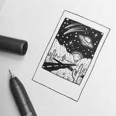 Simple little Sunset, mountain, camping doodles / pen art Alien Drawings, Easy Drawings, Cool Drawings Tumblr, Weird Drawings, Pencil Drawings, Stylo Art, Art Du Croquis, Pen Art, Art Sketches