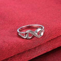 Fashion popular Silver Plated Geometric Cubic Zirconia Ring for Women SPR936 3