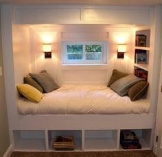 Built-Ins - this would be kind of cool at the back of the basement. A queen mattress = guest sleeping