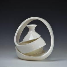 Spatial Spiral: Ribbon V Ceramic Design, Abstract Sculpture, Pottery Vase, Spiral, Sculptures, Art Gallery, Ribbon, Ceramics, Captain Marvel