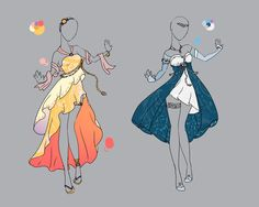 outfit adopt set 1 closed by scarlett knight Clothing Sketches, Dress Sketches, Fashion Sketches, Dress Drawing, Drawing Clothes, Manga Clothes, Anime Dress, Illustration Mode, Fantasy Dress