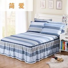 Bedspread cotton single bed skirt cotton lattice bed Simmons 1.8m meters bed cover protective bed set group made