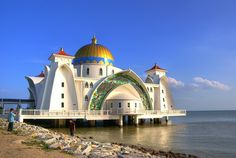 by MFannuarHDR on Flickr.  The Malacca Straits Mosque (Masjid Selat Melaka) is a mosque located on the man-made Malacca Island near Malacca Town in Malaysia.