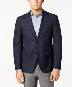 Ryan Seacrest Distinction Men's Slim-Fit Blue & Gray Windowpane Sport Coat, Created for Macy's - Blue