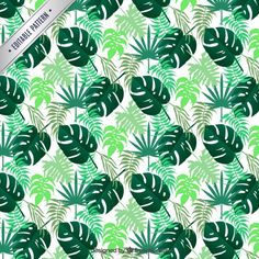 Tropical leaves pattern Free Vector
