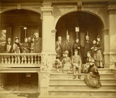General William T. Sherman with group (family?) on porch. ©Missouri History Museum