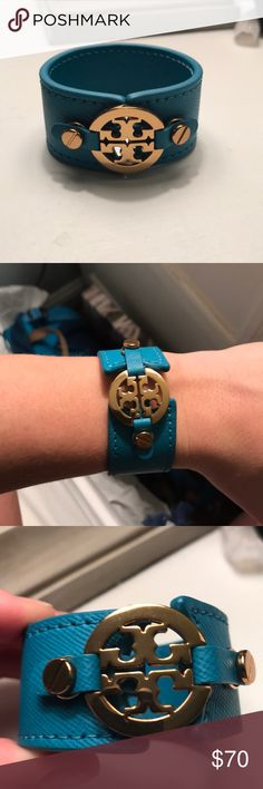 Tory Burch leather bracelet Blue leather Tory Burch bracelet. Only worn once Tory Burch Jewelry Bracelets