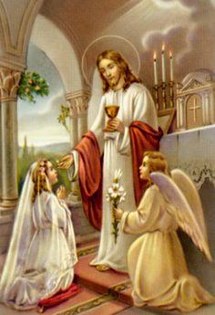 jesus institute the eucharist Catholic Sacraments, Jesus Photo, Vintage Holy Cards, Religious Pictures, Eucharist, Children's Picture Books, Catholic Art, First Holy Communion, Sacred Art