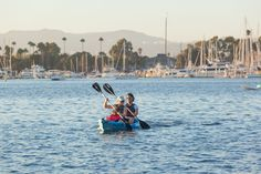 Kayaking in Marina del Rey, on the Los Angles waterfront.