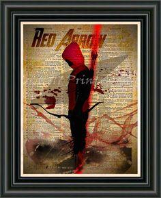 Red Arrow Arsenal, Green Arrow art print, Retro Super Hero Art, Dictionary print art