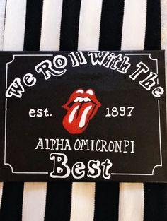 Alpha Omicron Pi canvas Rolling Stones rock n roll sorority canvas Big Little Week, Big Little Reveal, Big Little Gifts, Alpha Omicron Pi, Alpha Chi Omega, Alpha Phi, Phi Mu, Phi Sigma Sigma, Kappa Kappa Gamma
