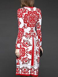 Embroidered Wool blend Knee Length dress