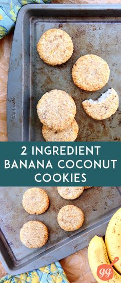 2 Ingredient Banana Coconut Cookies is part of Ingredients recipes This little recipe for 2 Ingredient Banana Coconut Cookies uses only the ingredients in its name to produce a totally delicious res - Healthy Sweets, Healthy Baking, Healthy Snacks, Healthy Cookies, Cookies Vegan, Eat Healthy, Paleo Dessert, Vegan Desserts, Dessert Recipes
