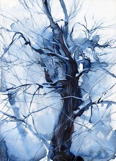 Snow blue tree  maple  winter watercolor painting  by OlgaSternyk