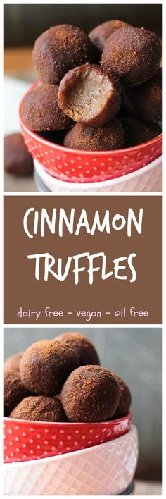 Cinnamon Truffles - these dairy free truffles are loaded with cinnamon, cashew butter and even chickpeas! Keep them in the freezer and I swear they taste like cinnamon cheesecake! You'll be addicted to these vegan truffles after one taste. And the good ne