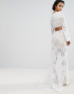 Jarlo Petite Cutout Back Lace Maxi Dress With Train