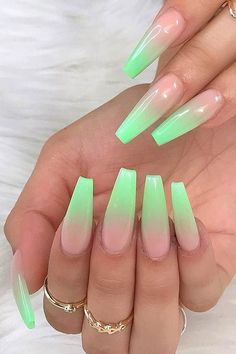 Neon Green Ombre Nails Nails 43 Crazy-Gorgeous Nail Ideas for Coffin Shaped Nails Neon Green Nails, Neon Nails, Glitter Nails, Colorful Nails, Green Nail Art, Dope Nails, Purple Nails, 3d Nails, Stiletto Nails